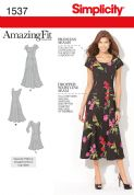 1537 Simplicity Pattern: Misses' and Plus Size Amazing Fit Dress
